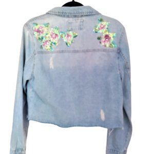 NWT Forever 21 sequin distressed denim jacket